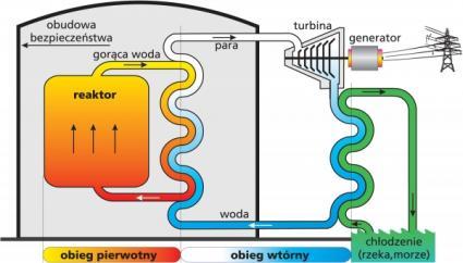 Obieg pierwotny i wtórny oraz chłodzenie reaktora PWR