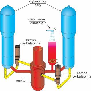 Wytwornice pary, stabilizator ciśnienia i pompy cyrkulacyjne reaktora PWR