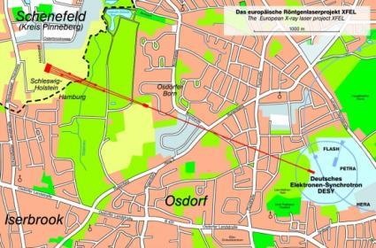 XFEL europejski laser na swobodnych elektronach - mapa DESY